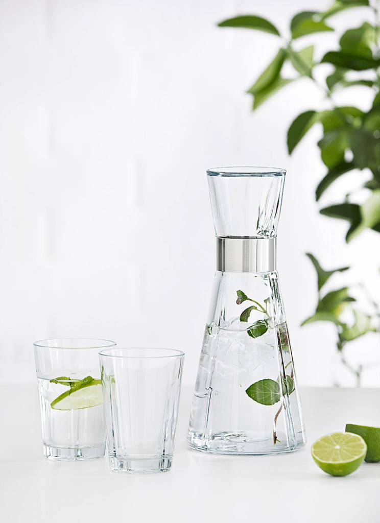 Rosendahl vannkaraffel og glass. jubileumsgave, firmagave med logo