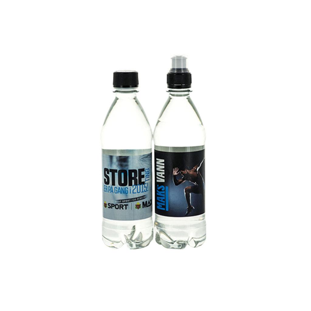 Vannflasker med logo, flasker med egen etikett
