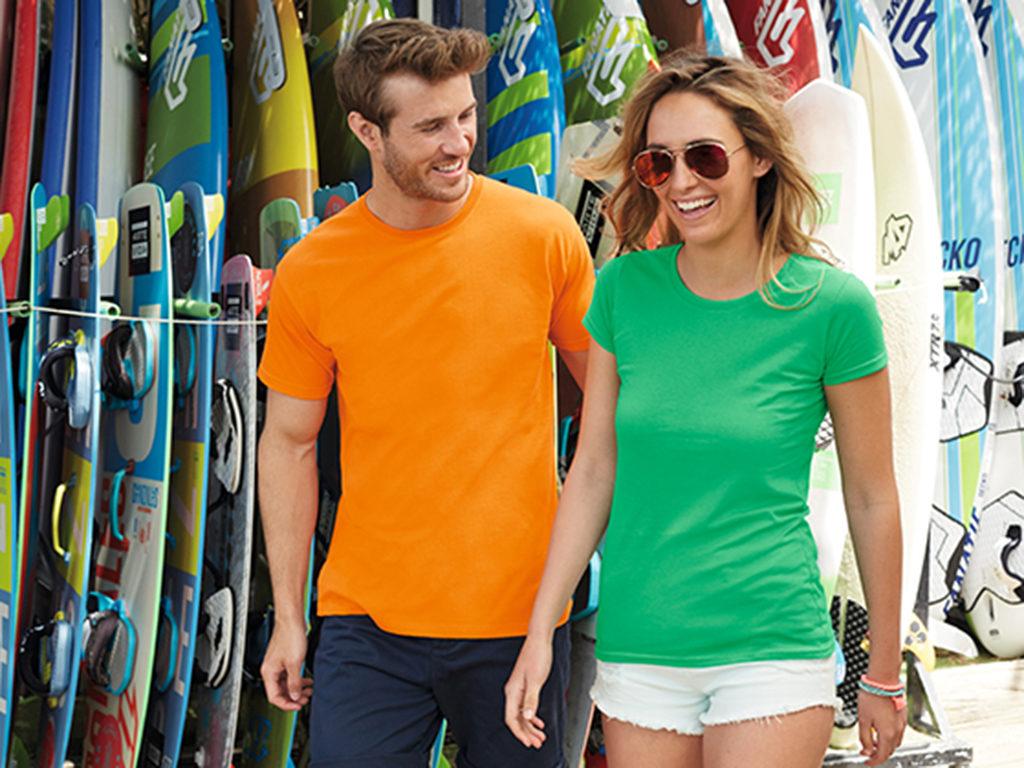 T-skjorte, profilklær, orange, grønn, t-skjorte med logo