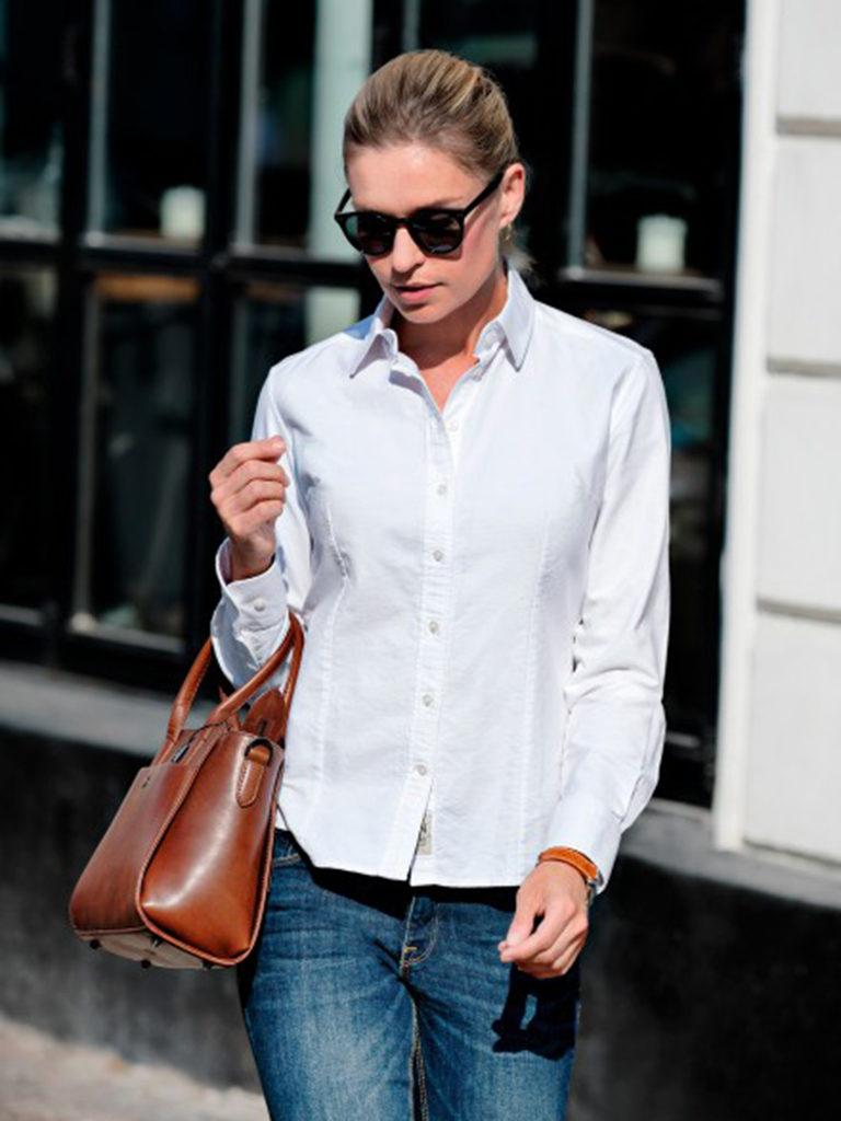 Nimbus skjorte dame, hvit, logo, firmalogo, firmaskjorte