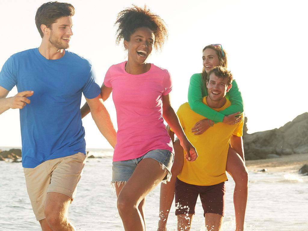 T-skjorter, gul, blå, grønn, rosa