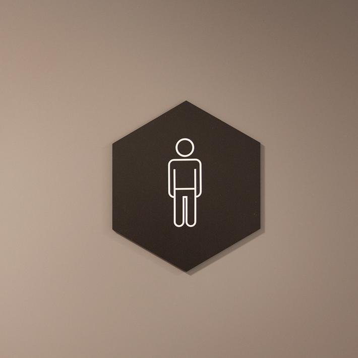 Toalettskilt, informasjonsskilt, akrylskilt