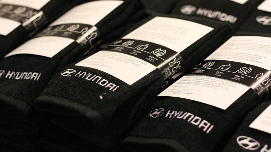 Hyundai hådnklær, spesialproduksjon, Håndklær med logo, håndklær med brodering