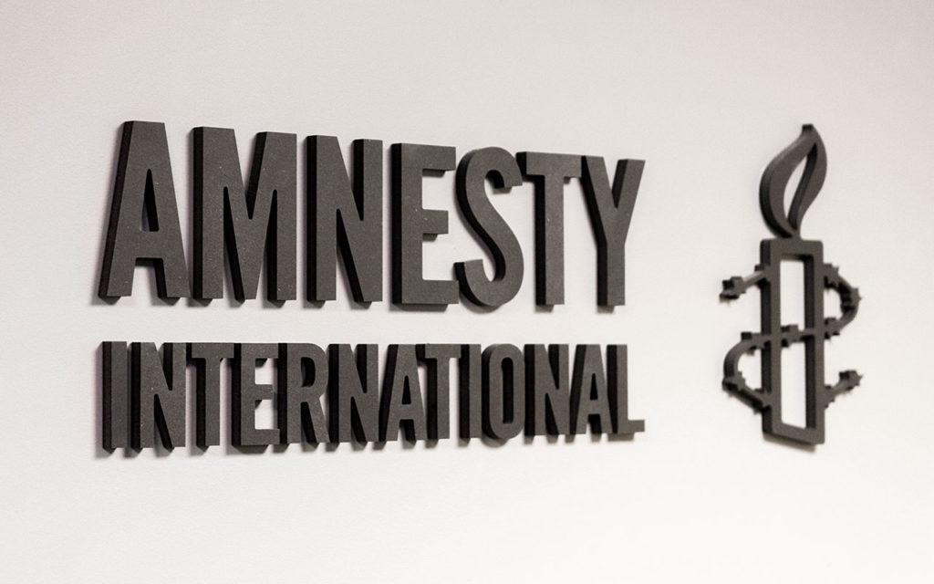 Skilt, dekor, innendørs skilt, Amnesty International, skiltproduksjon.