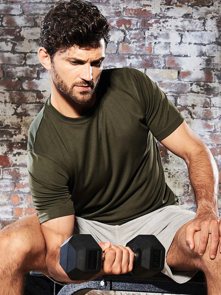 Trenings t-skjorte oliven, t-skjorte med logo, profil t-skjorte, firma t-skjorte, dry fit, klubb t-skjorte med logo, t-skjorte med trykk