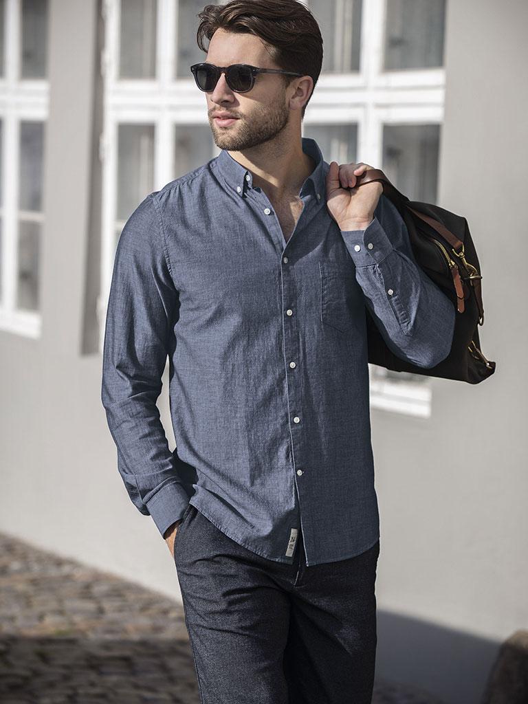 Nimbus denimskjorte, skjorte med logo, firmaskjorte, skjorte herre, slimfit skjorte, moderne skjorte med firmalogo