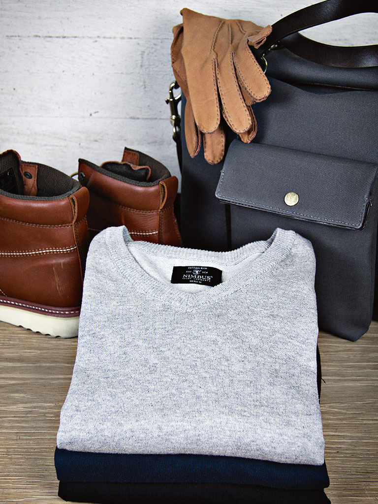 Nimbus strikketgenser, grå genser, firmagenser, genser med logo