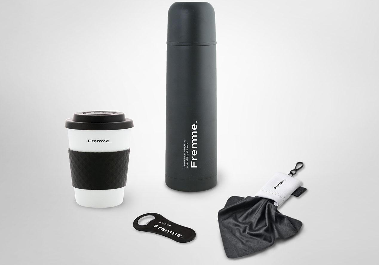 Termokopp, termos, flaskeåpner, håndkle, microfiber håndkle med logo, termos med logo, kopp med logo, profilartikler med firmalogo