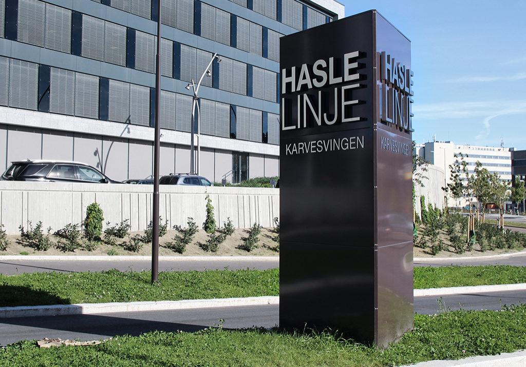 Stor bauta, pylon på Hasle linje. Designet og produsert av Profilforum